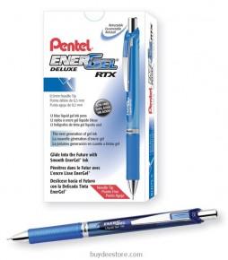 Pentel EnerGel Deluxe RTX Retractable Liquid Gel Pen, Fine Line, Needle Tip, Blue Ink, Box of 12 (BLN75-C)