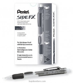 Pentel Side FX Mechanical Pencil, 0.5mm, Black Barrel, Box of 12 (PD255A)