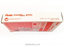 Pentel EnerGel Deluxe RTX Retractable Liquid Gel Pen, Fine Line, Needle Tip, Red Ink, Box of 12 (BLN75-B)