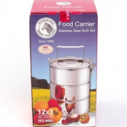 Stainless Steel Tiffin Food Carrier 12cm x 3 pots