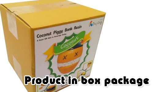 Coconut Resin Piggy Bank In Box