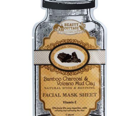 Bamboo Charcoal & Valcano mud Clay natural Dtox & Refining Facial Mask 1 Sheet
