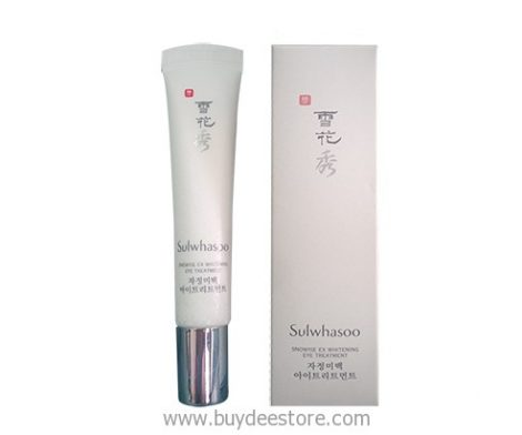 A brightening eye treatment that soothes and reduces dark circles with Sulwhasoo Snowise EX Whitening Eye Treatment.