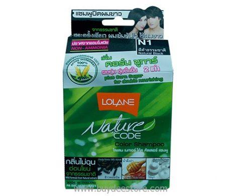 Lolane Nature Code Color Shampoo Non-Ammonia N1 Natural Black 1 Box