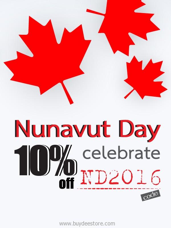 Nunavut Day 2016 Celebrate 10%OFF Discount in Cart All Item